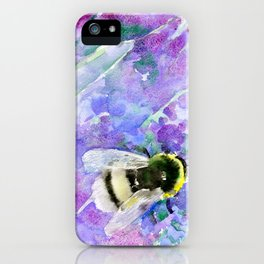 Bumblebee and Lavender Flowers Herbal Bee Honey Purple Floral design iPhone Case