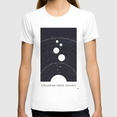 Stellarum Ordo Solaris: A map of our Solar system LARGE Womens Fitted Tee White