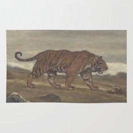 Vintage Illustration of a Striped Tiger (1875) Rug