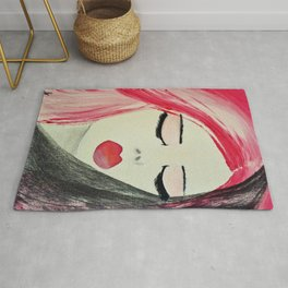 Shy Girl. Abstract Pink Girl. Pink Lips. Pink Hair. Jodilynpaintings. Eyelashes. Gift for All Girls. Rug