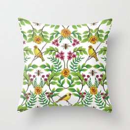 Summer Song - Yellow & Pink Floral Pattern with Birds & Bees Throw Pillow