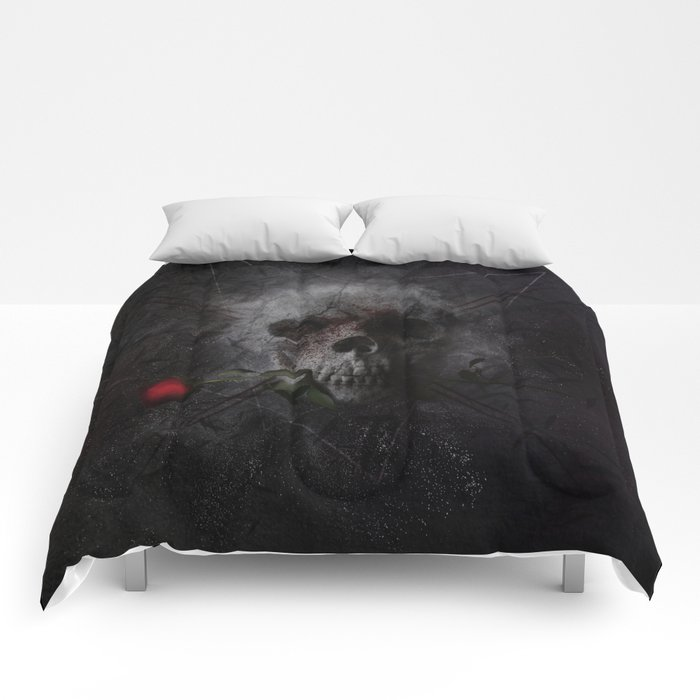 Skull with Rose Comforters