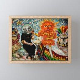 Gatos Malos, or Bad Kitties, portrait surrealist mural painting by A. Colunga Framed Mini Art Print