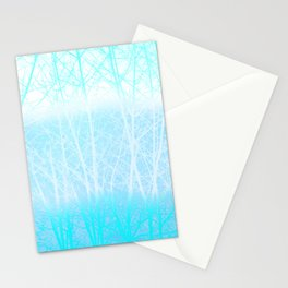 Frosted Winter Branches in Misty Blue Stationery Cards