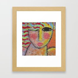 Abstract Portrait of a Woman On Wood Framed Art Print
