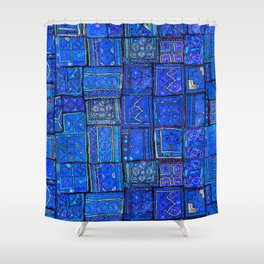 V2 Calm Blue Traditional Moroccan Cloth Texture. Shower Curtain
