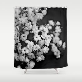 Baby's breath black and white Shower Curtain