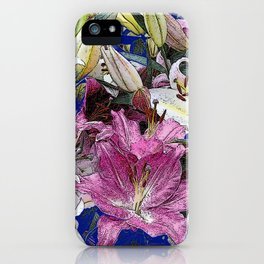 PURPLE & WHITE ASIAN GARDEN LILIES DRAWING iPhone Case