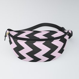Black and Pink Lace Pink Vertical Zigzags Fanny Pack