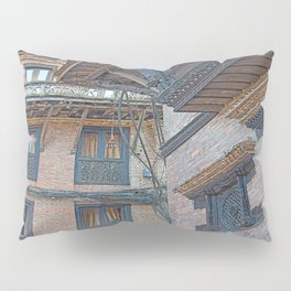 BHAKTAPUR NEPAL BRICKS WINDOWS WIRES Pillow Sham