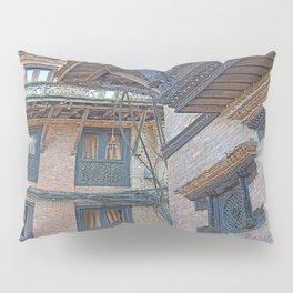 BHAKTAPUR NEPAL BRICKS WINDOWS WIRES Pillow Sham