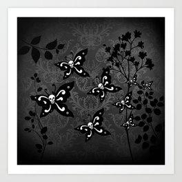 Skullerflies in the garden - dark scale Art Print