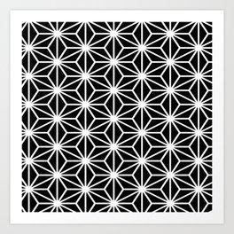 Geometric abstract modern black white stripes Art Print