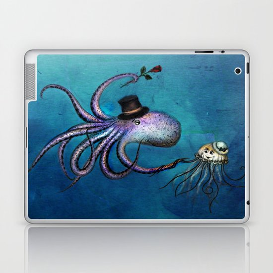 Underwater Love // octopus jellyfish Laptop & iPad Skin