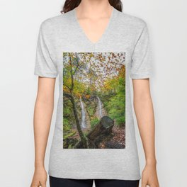 Grey Mares Tail Waterfall Wales Unisex V-Neck