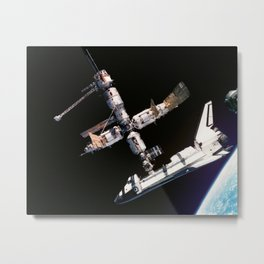 Space Shuttle Space Station Mir Dock Metal Print