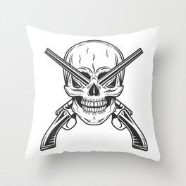 Vintage monochrome bandit gangster skull with crossed hunting sawn-off shotgun modern print Throw Pillow