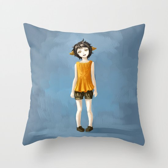 Girl in shorts Throw Pillow