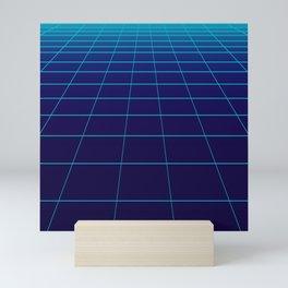 Minimalist Blue Gradient Grid Lines Mini Art Print