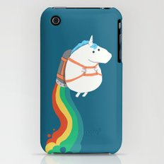 Fat Unicorn on Rainbow Jetpack iPhone (3g, 3gs) Slim Case