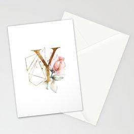 Golden ethereal floral monogram - Y Stationery Cards