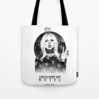ahs Tote Bags featuring AHS Hotel by Ash Tarek