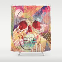 camp Shower Curtains featuring Cheerleader Camp by Orlberos Skull Designs