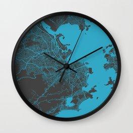 Rio map blue Wall Clock