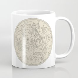 Ocean dragon facing strong boat Coffee Mug