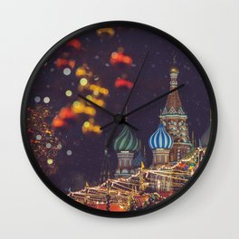 New Year and Christmas celebration in Moscow, Russia Wall Clock