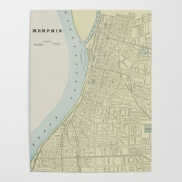 Vintage Map of Memphis Tennessee (1901) Poster