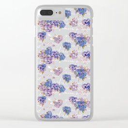 Hydrangeas and French Script with birds on gray background Clear iPhone Case