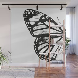 Monarch Butterfly | Left Butterfly Wing | Vintage Butterflies | Black and White | Wall Mural