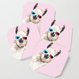 Sneaky Llama with 3D Glasses in Pink Coaster
