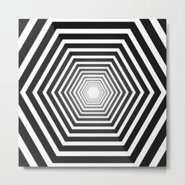 concentric hexagons with black gradient optical illusion Metal Print