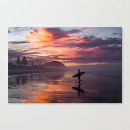 Sunset Surfer Canvas Print