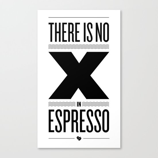 No X in Espresso – Black Canvas Print