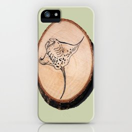 Devil Ray Wood Slice 2 iPhone Case