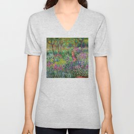 Claude Monet - The Iris Garden At Giverny Unisex V-Neck
