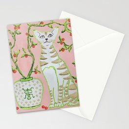 Oriental Staffordshire Cats on Pink Stationery Cards