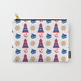 Modern blue red orange watercolor nautical pattern Carry-All Pouch
