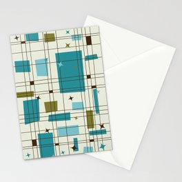 Mid-Century Modern (teal) Stationery Cards