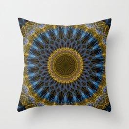 Mandala in golden and blue tones Throw Pillow
