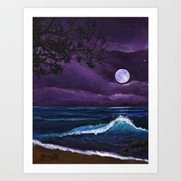 Romantic Kauai Moonlight Art Print