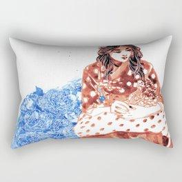 Flowers and Hanbok Rectangular Pillow