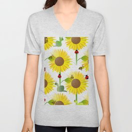 Sunflowers And Bees Unisex V-Neck