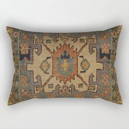 Persia Heriz 19th Century Authentic Colorful Orange Blue Green Vintage Patterns Rectangular Pillow