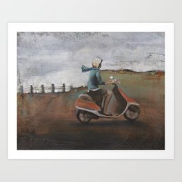 She Rode Along Art Print