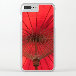 Red Parasol Clear iPhone Case