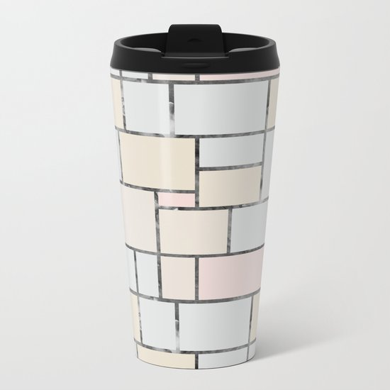 Tile pattern in soft pastel tones Metal Travel Mug